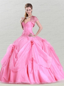 Luxurious Appliques and Hand Made Flowers Sweet 16 Dress in Rose Pink