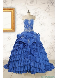 Modern Brush Train Appliques Sweet 15 Dresses in Royal Blue