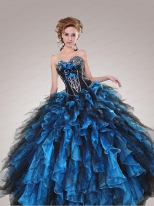 Sweetheart Beading and Ruffles Quinceanera Dresses in Black and Blue