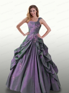 Wide Straps Quinceanera Dresses with Appliques and Pick-ups