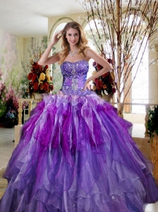 Purple Beaded Decorate Quinceanera Dresses with Ruffles
