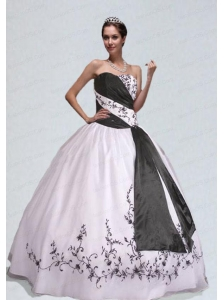 Unique White and Black Quinceanera Gown with Appliques
