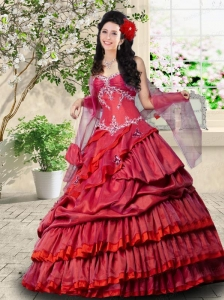 2015 Beautiful Ruffled Layers and Appliques Sweetheart Sweet 15 Gown in Red