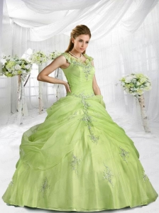 2015 Beautiful Yellow Green Straps Dresses For a Quinceanera with Appliques and Pick-ups