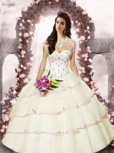 2015 Exquisite Satin and Tulle Sweetheart Beading Quinceanera Dresses in Ivory
