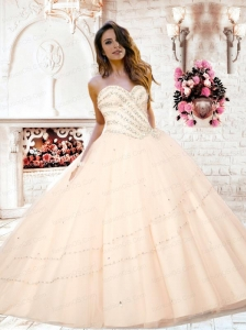 2015 Inexpensive Sweetheart Beading Quinceanera Dresses in Peach