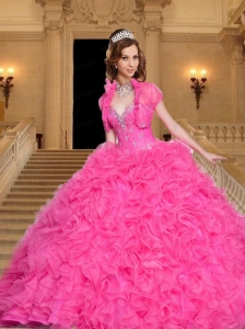 2015 Most Popular Beading and Ruffles Sweetheart Hot Pink Quinceanera Dress