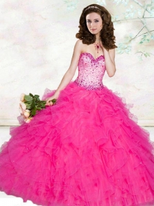 2015 New Style Sweetheart Beading and Ruffles Hot Pink Quinceanera Dresses