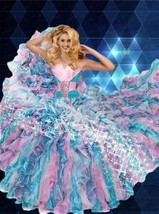 2015 Newest Strapless Multi-color Dress for Quinceanera with Ruffles