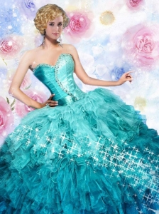 2015 Pretty Good Sweetheart Blue Dresses For Quinceanera with Beading and Ruffles