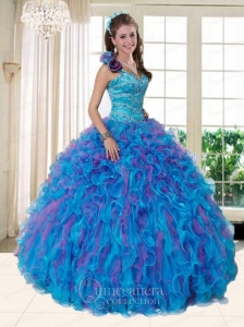 2015 Pretty One Shoulder Multi-color Quinceanera Dresses with Beading