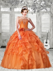 2015 Pretty Puffy Strapless Ruffles Orange Red Dress For Quinceanera
