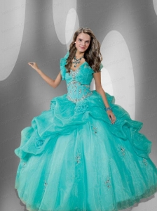 Fashionable Blue Sweetheart Organza Quinceanera Dress with Beading