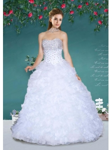 Fashionable Strapless White Quinceanera Gowns with Beading and Ruffles For 2015