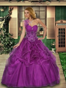 One Shoulder Beaded Decorate Bodice Organza Sweet 16 Dress in Purple