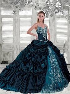 Spaghetti Straps Appliques and Pick-ups Quinceanera Dress