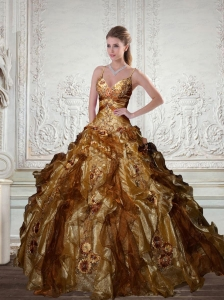 Spaghetti Straps Gold Sweet 16 Dresses with Beading and Ruffles