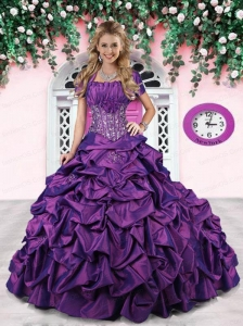 Strapless Purple Sweet 15 Dress with Appliques and Pick-ups for 2015