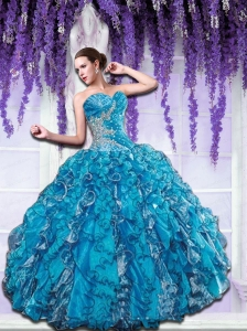Sweetheart Beading and Ruffles Quinceanera Dress in Blue