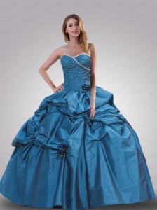 Sweetheart Blue Beading and Hand Made Flowers Quinceanera Dress