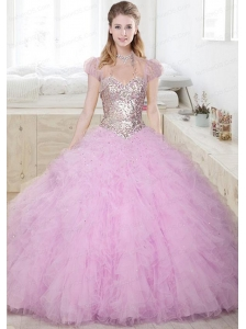 2015 Beautiful Sweetheart Beaded and Ruffled Quinceanera Dress in Lilac