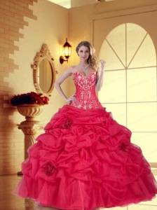 2015 Beautiful Sweetheart Quinceanera Dress with Hand Made Flower and Appliques