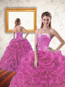 2015 Inexpensive Beading and Ruffles Sweet 16 Dress in  Fuchsia