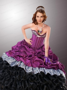 2015 Inexpensive Multi-color Quinceanera Dresses with Ruffles and Pick-ups