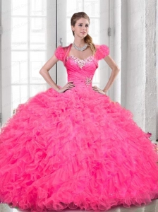 2015 Luxurious Sweetheart Beading and Ruching Pink Quinceanera Dresses