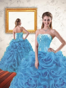 2015 New Style Beading and Ruffles Quinceanera Dresses in Blue