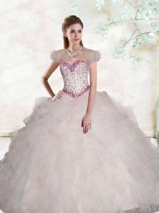 2015 RomanticSweetheart Quince Dress with Beading and Ruffles