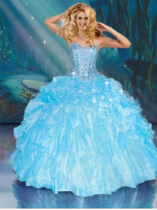 2015 Sweetheart Aqua Blue Quinceanera Dresses with Ruffles and Beading