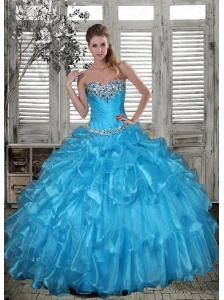 Affordable Baby Blue Quinceanera Dress with Beading and Ruffles