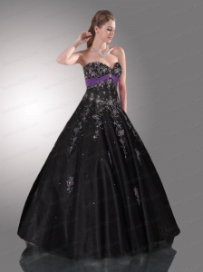 Black Sweetheart Tulle Beading and Appliques Quinceanera Dress