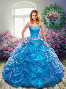 Brand New Sweetheart Blue Quinceanera Dresses with Beading and Pick-ups