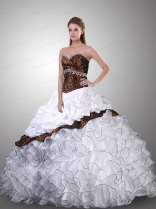 Brand New Sweetheart Organza White Quinceanera Dresses for 2015