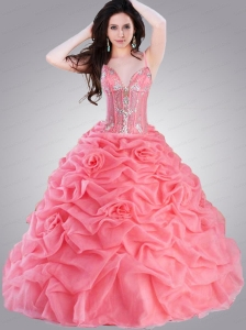 Charming Spaghetti Straps Appliques and Pick-ups Quinceanera Dresses in Watermelon