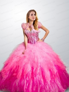 Elegant Sweetheart Pink Quinceanera Dress with Ruffels and Beading