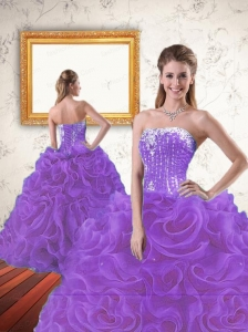 Exquisite Beading and Ruffles Lavender Sweet 15 Dress for 2015