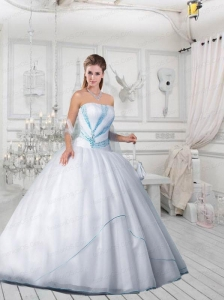 Exquisite Strapless Beading White Quinceanera Dresses for 2015
