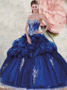 Fashionable Sweetheart Appliques and Pick-ups Navy Blue Dresses for Quinceanera