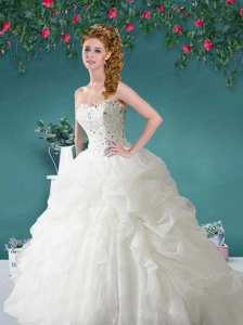 Inexpensive Sweetheart Beading and Pick-ups Quinceanera Dresses in White
