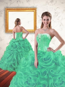 Luxurious Beading and Ruffles Dress for Fifteen in  Turquoise for 2015