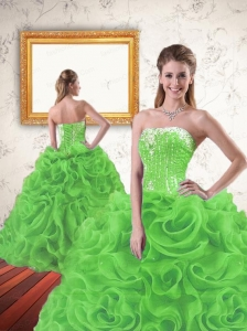 Luxurious Beading and Ruffles Spring Green Quinceanera Dresses