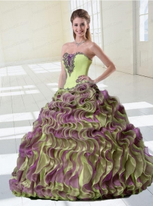 Luxurious Ruffles and Appliques Multi-color Quinceanera Dress