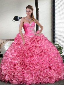 Most Popular Watermelon Red Quinceanera Dress with Beading and Ruffles