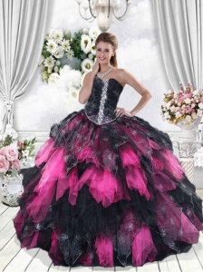 Multi-Color Strapless Ruffles and Beading Dress for Quincenera