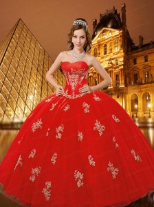 Newest Sweetheart Appliques Red Dresses for Quinceanera