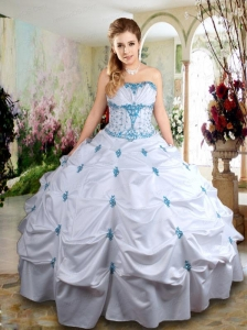 Perfect Taffeta White Quinceanera Dress with Appliques and Pick Ups