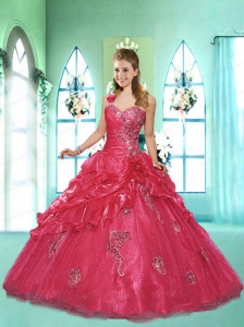 Popular One Shoulder Appliques and Pick-ups Red Dresses for Quinceanera